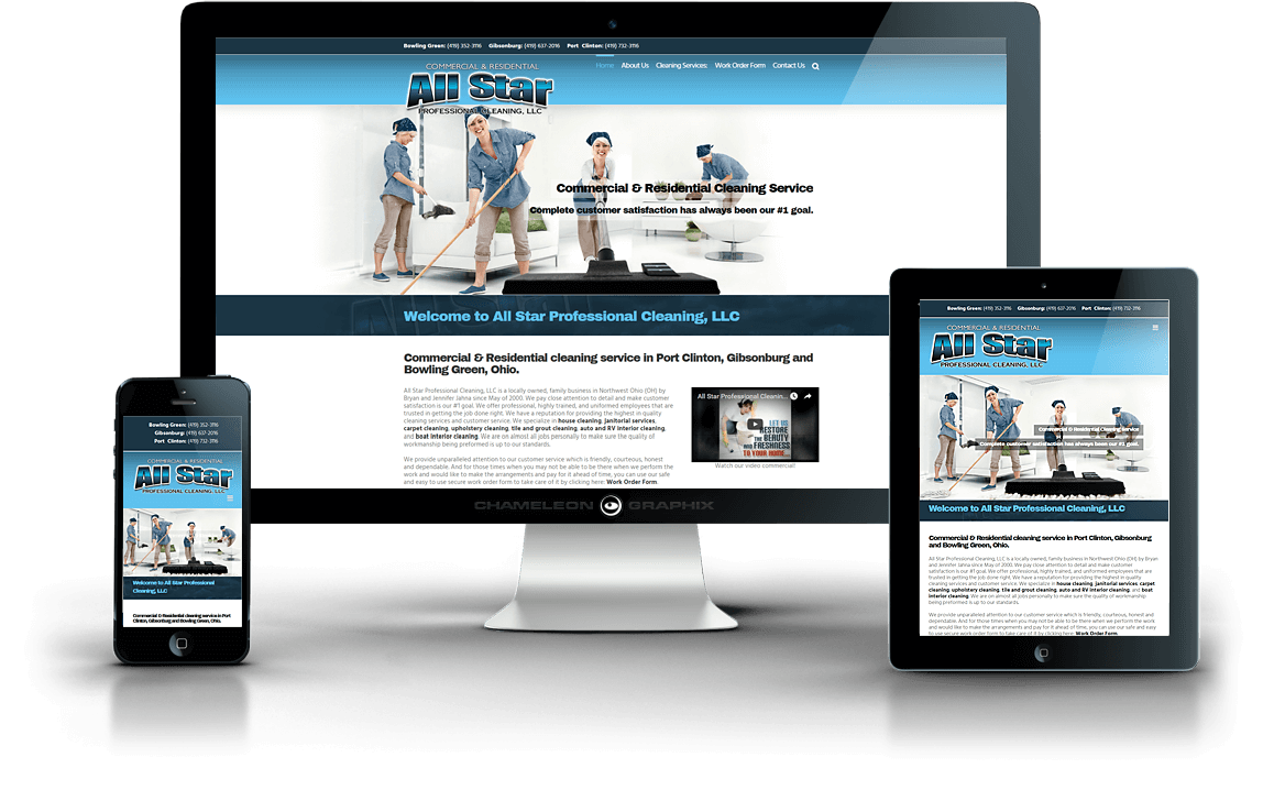 ALL STAR PROFESSIONAL CLEANING, LLC web design.