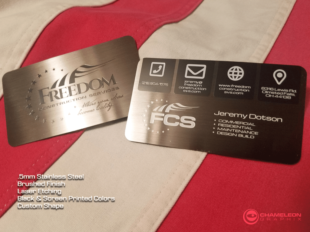 Freedom Construction metal business cards